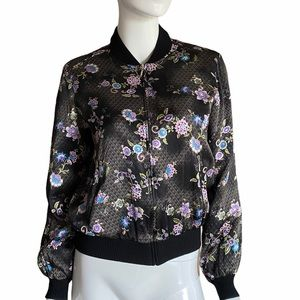 Silk Floral Full Zip Jacket with Pockets S…
